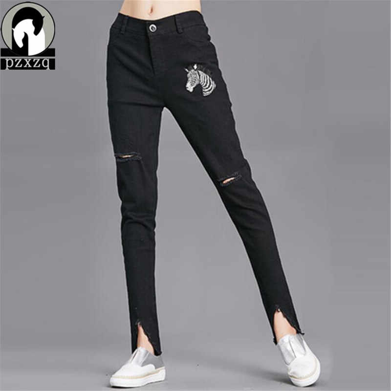 43d7c796 2018 отверстие Зауженные джинсы Для женщин джинсовые штаны-шаровары  отверстия уничтожено колена узкие брюки повседневные