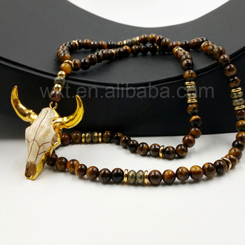 "WT-N776 Handmade 32"" Beads Necklace Design All-Match 8mm Tiger Eye and Hematite Beads with Charm Cattle Horn Necklaces Jewelry"