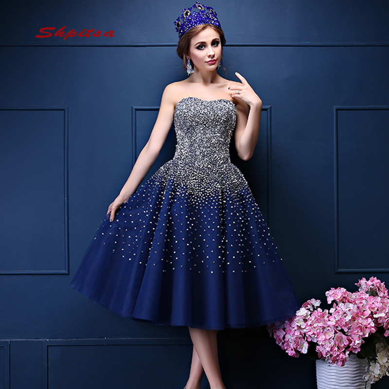 Sexy Navy Blue Cocktail Dresses Party Short Luxury Graduation Homecoming Prom Dress Coctail Dress vestido de festa curto