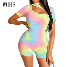 WUHE High Neck Short Sleeve Printed Jumpsuits Summer Women Sexy Bandage Bodycon Bodysuits Femme Vintage Hollow Out Overalls