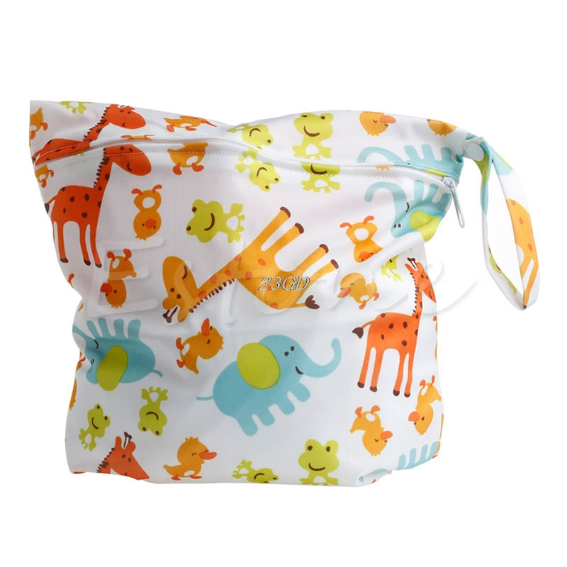 2017  Cute  Baby Zipper Waterproof Diaper Bag Protable Nappy Washable Nappy Wet Dry Cloth 3  APR14_30