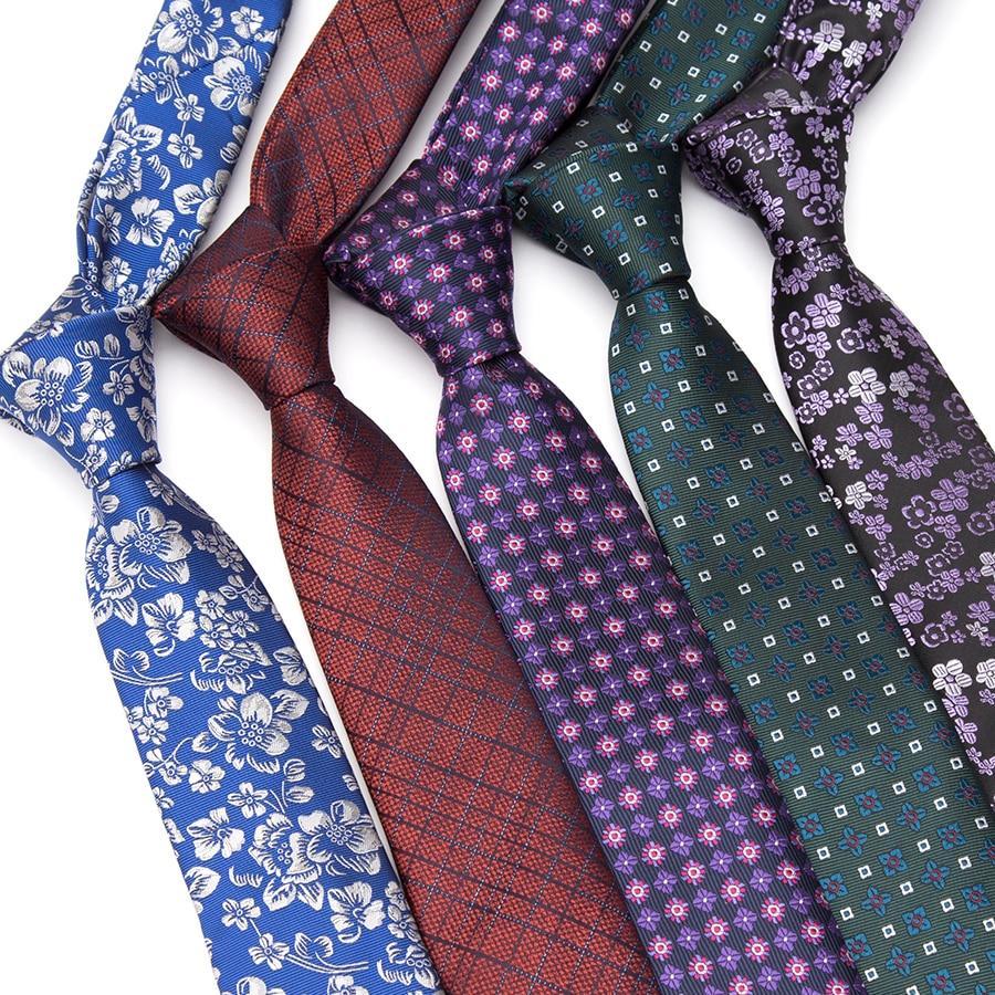 XGVOKH Mens Tie Fashion Jacquard Luxury Necktie Flower Striped Plaid Neckties Corbatas Ties For Men Gift Wedding Business Tie