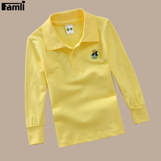 5y-14y famli muchachos polo camisa 2017 de los niños del otoño del resorte ocasional sólido de algodón de Manga Larga Camisetas de Los Niños Adolescente Camiseta Tops 8 10 12