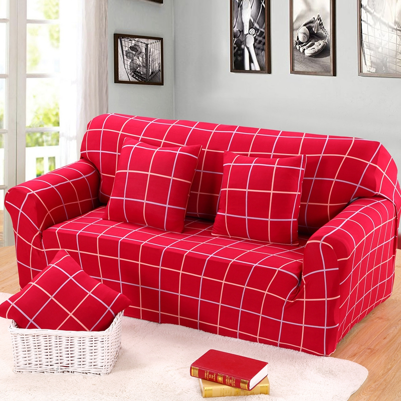3 Seater Backrest Sofa Cover 1/2/4 Seater Couch Slip Covers Red Color