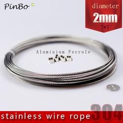 100 M 304 edelstahl draht seil alambre kabel weicher angeln heben kabel 7X7 Struktur 2mm durchmesser