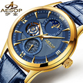 AESOP 9019 Switzerland watches men luxury brand skeleton automatic Moon phases luminous Chinese dragon blue Genuine Leather