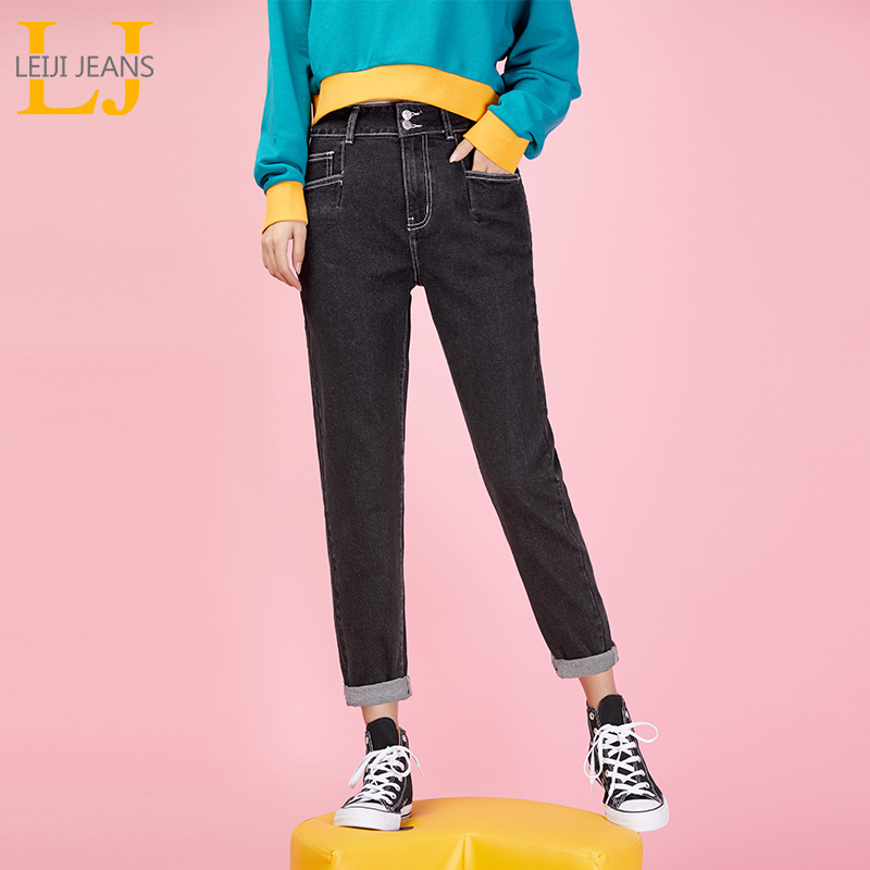 LEIJIJEANS New Pants Waist Low Elastic Waist Loose Harlan Long Jeans Double-breasted Black Casual Loose Ladies Plus Size Jeans
