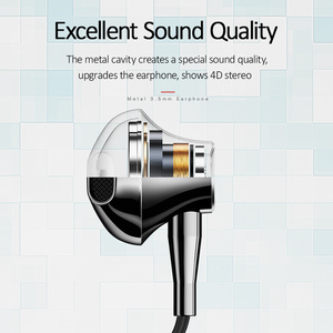 Image 2 - USAMS In ear 3.5mm audio Earphone Metal Hifi Wired headset Microphone 4D Stereo wired earphones for iPhone 6s se Samsung Xiaomi