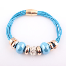 Women's Ethnic Style Leather Bracelet with Magnetic Clasp
