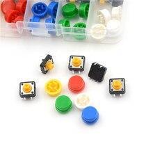 Bouton-poussoir Tactile momentané, 25 pièces, 12x12x7.3MM, Micro interrupteur + 25 pièces, 5 couleurs