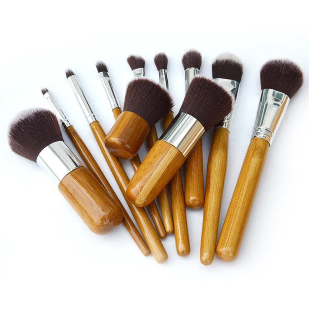 Vander 11Pcs Makeup Brushes Cosmetics Tools Bamboo Handle Eyeshadow Cosmetic Brush Set Blush Kit pincel maquiagem Pouch Bag hot sale 4pcs bamboo handle makeup brushes set cosmetic kit powder eyebrow blush makeup brushes styling tools face care