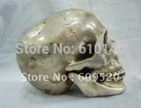 Коллекционный тибетский серебряный резной череп голова статуя