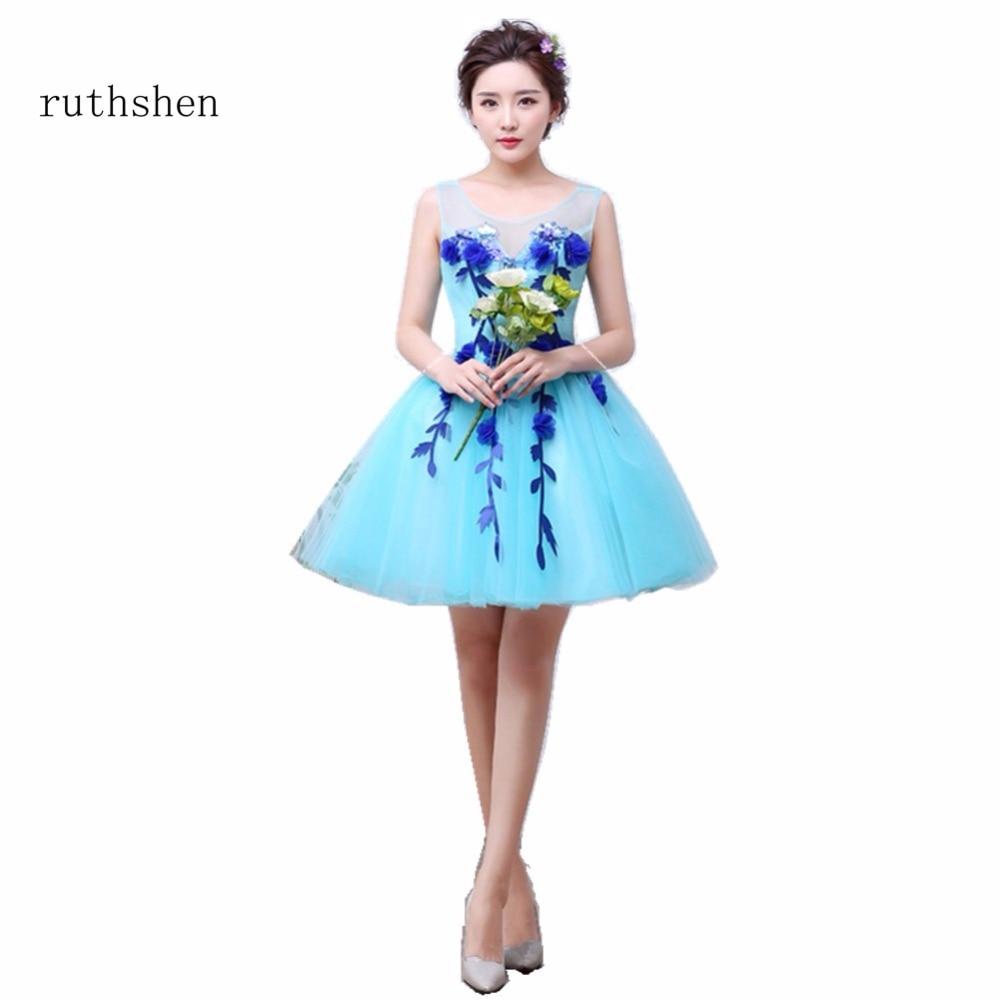 Amazing Short Sleeveless Prom Dresses Blue Flowers Appliques Mini ...