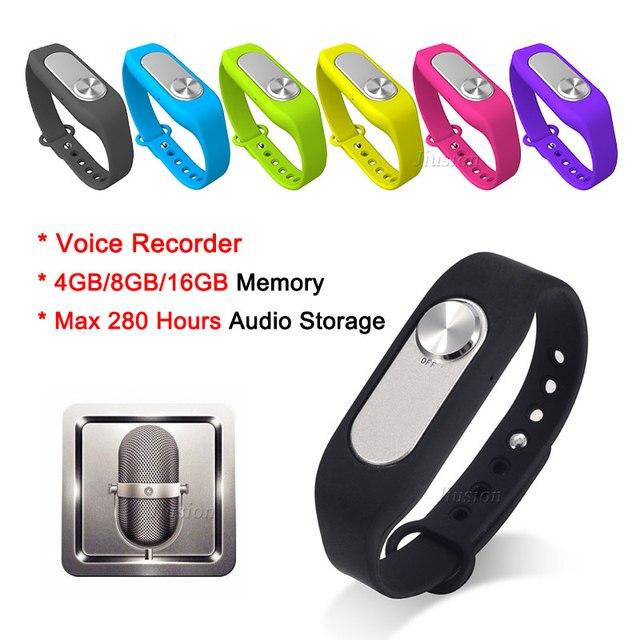 Wearable Digital Voice Recorder 16GB 280 Hours Audio Storage Portable Wristband 4G/8G USB Flash Drive Audio Bracelet Colorful