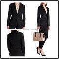2016 novo estilo custom made 100% sólida OL preto botão notch lapela mulheres calças ( jaqueta + calça )