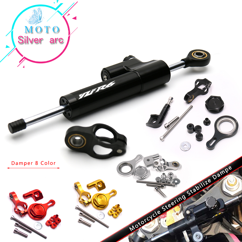 Motorcycle CNC Damper Steering StabilizerLinear Reversed Safety Control With Bracket For YAMAHA YZF R6 2006-2016 R1 2009-2012