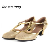 fan wu fang 2017 New Ballroom Dance Latin Shoes Tango Dancing Shoes Full Grain Leather Cowhide For Women Adult Heel 4cm 862