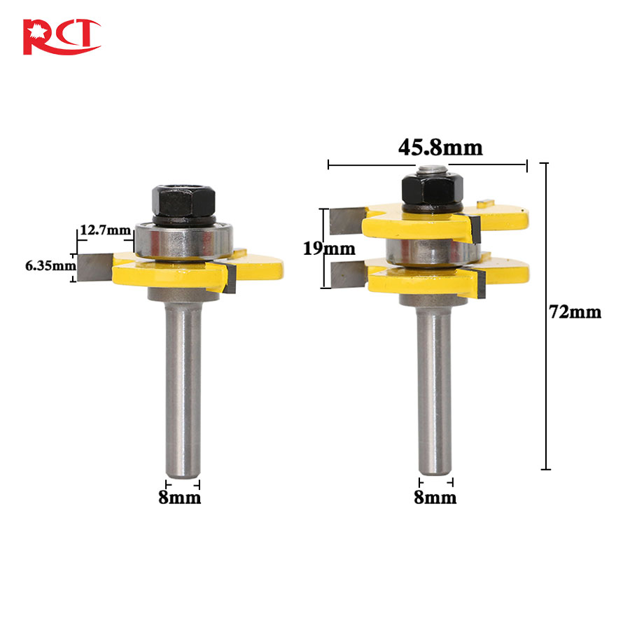 8mm Shank 2 Bit Tongue and Groove Router Bit Set Wood Milling Cutter flooring knife 1 2 5 8 round nose bit for wood slotting milling cutters woodworking router bits