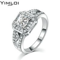 Hot Wedding Ring 7mm Round CZ Silver Color Luxury Eternity Rings Bands Jewelry for Women RB554