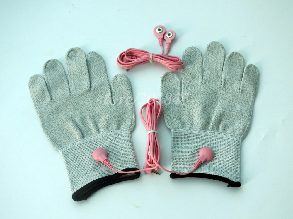 1Pair Conductive Silver Fiber Breathable Electrotherapy Massage TENS Electrode Gloves+2Pcs Pink 2 in 1 Connecting Wire Cable /></noscript></a><br /> <em></p> <div itemprop=