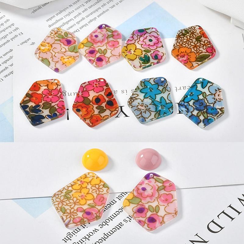 Wind Chiffon Flower Irregular Shaped Acrylic diy Handmade Earrings Jewelry Accessories