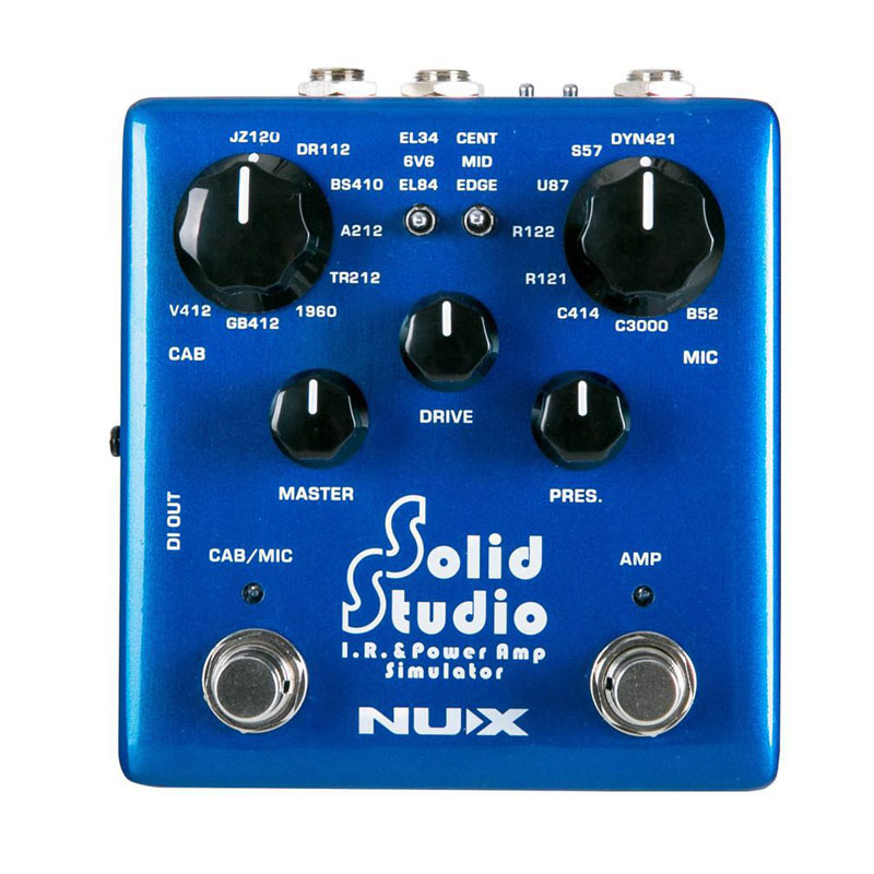 NUX Solid Studio IR Power Amp Simulator built in cabinet microphone positions with 3 tubes and