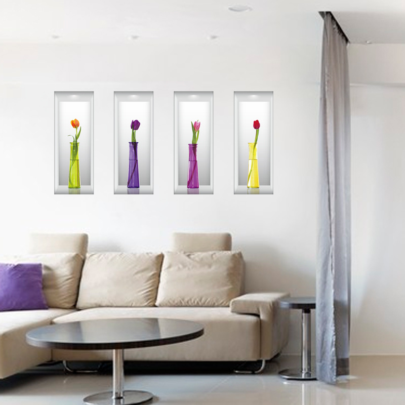 3d simulation vases three dimensional decorative wall for Autocollant mural