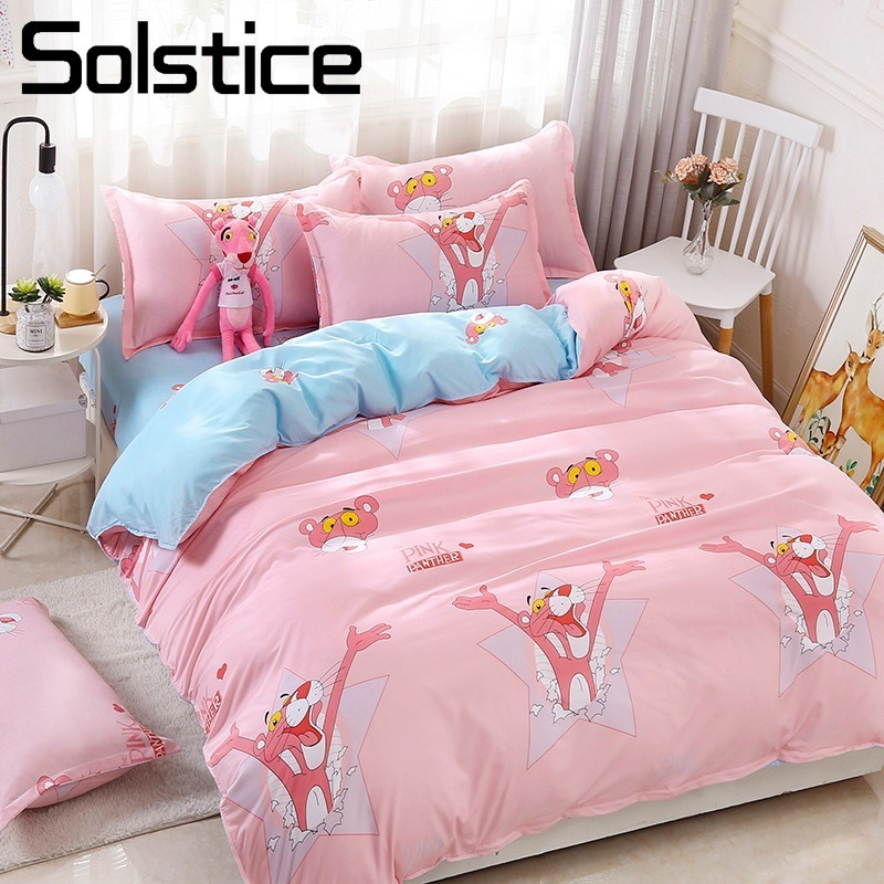Solstice Home Textile Twin Full Queen King Bedding Set Pink Panther Blue Duvet Cover Sheet Pillowcase Girl Kid Teenage Bed LinenSolstice Home Textile Twin Full Queen King Bedding Set Pink Panther Blue Duvet Cover Sheet Pillowcase Girl Kid Teenage Bed Linen