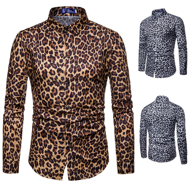 0ed31f0c8cf8 2019 New Mens Fashion Leopard Print Printed Blouse Casual Long Sleeve Slim  Fit Shirts Tops camisa masculina