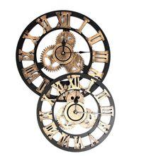 4a0b819a857 3D Rústico Retro Vintage Steampunk Engrenagem Relógio de Parede Silencioso  Numerais Romanos De Madeira Decorativa Home