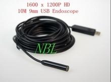 Endoscopios industriales USB de 10M y 9mm, endoscopio de cable HD impermeable, 1/6 VGA, CMOS, boroscopios de 2MP, 6 * LED, cámara de vídeo con caja de venta al por menor