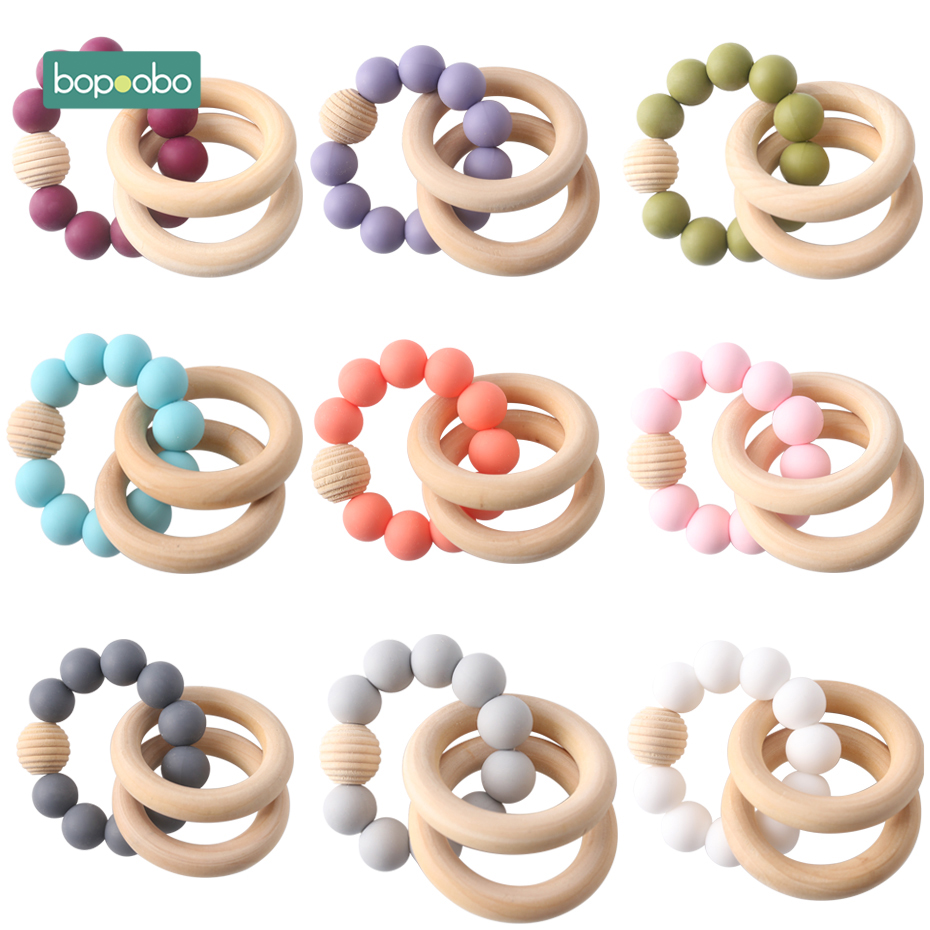 Bopoobo 1pc Baby Bracelets Rattle Silicone Beads Bangles Teething Jewelry Wooden Beads BPA Free Breceletes Baby Teether