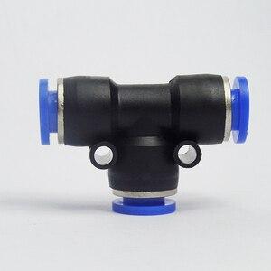 Image 2 - 100 sztuk darmowa wysyłka PE4 6 8 10 12MM pneumatyczne Tee 3 sposób montażu plastikowe złącze rurowe szybkozłącze