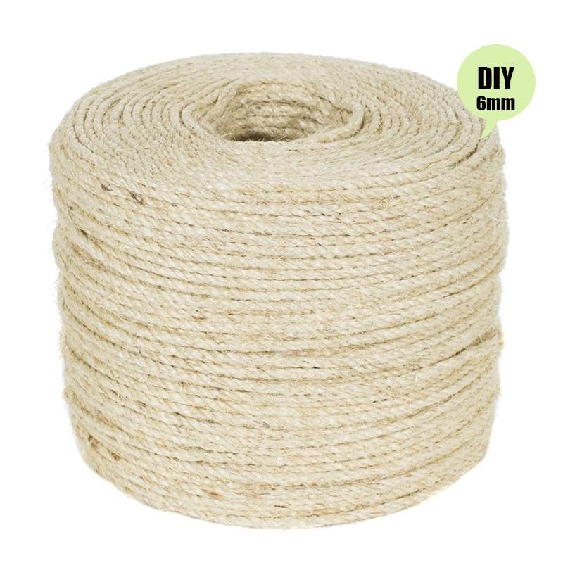 Bricolaje Muebles para rascar: /árbol para gatos Cuerda de sisal 6mm para Gato Raspador Repare y reemplace el poste rascador Cat alfombra y tapete juguetes para patear gatos Gris 20m//66 pies