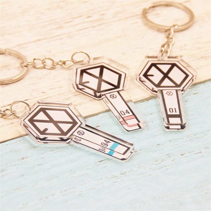 Youpop KPOP EXO New Album EXODUS Key Chain Acrylic Cartoon Keychain K-POP EXO Concert Light Stick Key Ring Keyring Pendant LU012