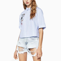 Women S Tops Blue Strip Short Sleeve Blouses Elegant Summer Style 2016 New Front Label Back
