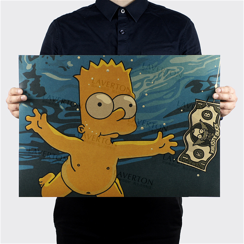 Free shipping,The Simpsons B Style/classic Cartoon Comic /kraft paper/bar poster/Retro Poster/decorative painting 51x35.5cm