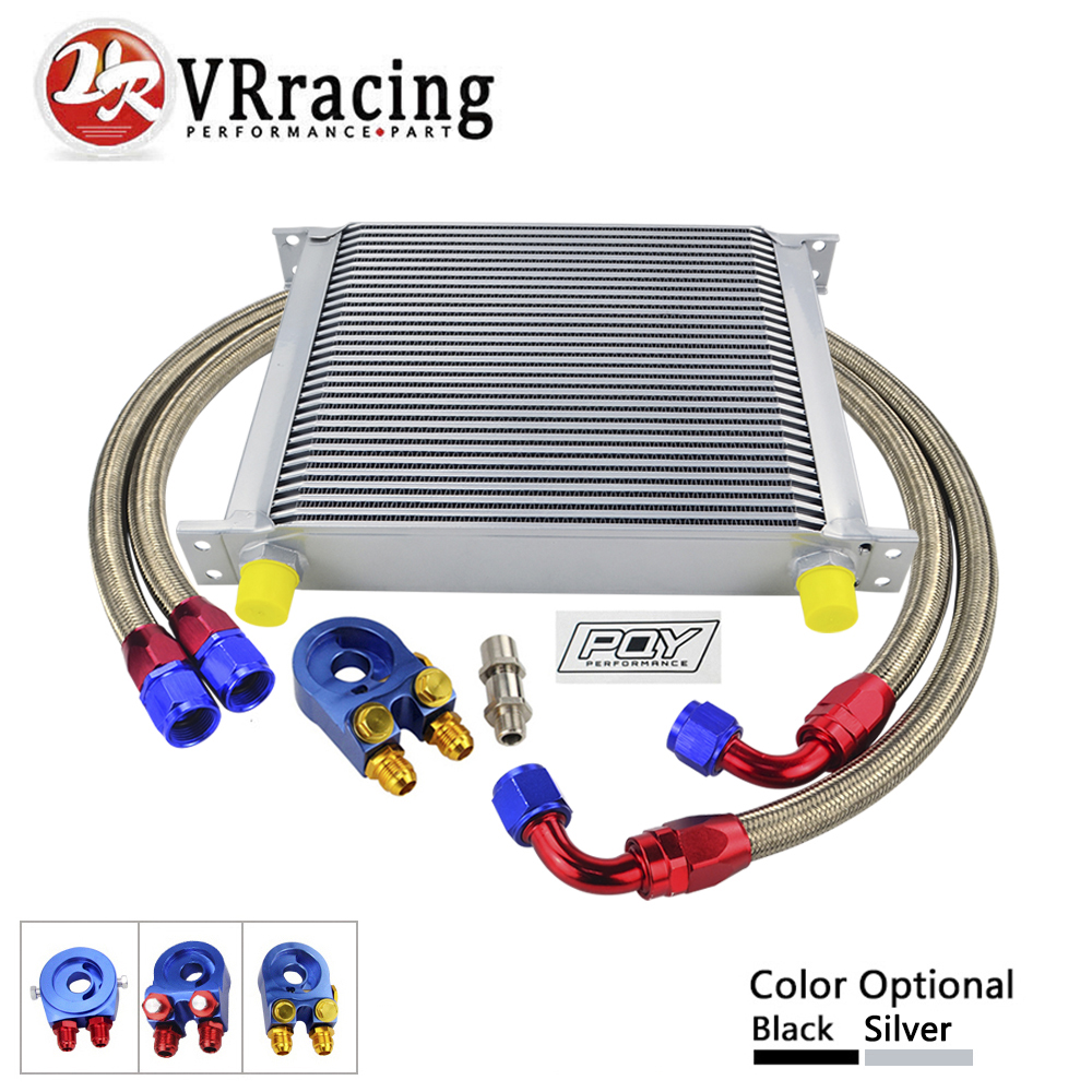 VR RACING- AN10 OIL COOLER KIT 30 ROWS OIL COOLER + OIL FILTER ADAPTER + NYLON STAINLESS STEEL BRAIDED HOSE WITH PQY STICKER+BOX vr universal 10 rows trust type oil cooler oil filter adapter nylon stainless steel braided an10 hose w pqy sticker box