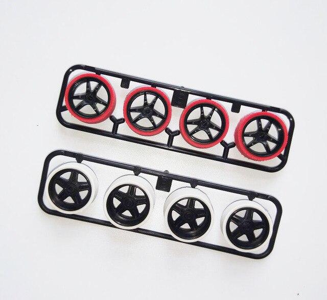 Neumáticos pulidos manuales 95254/15414 de gran diámetro ruedas de neumáticos delgadas de alta velocidad piezas de repuesto para modelo de coche Tamiya Mini 4WD
