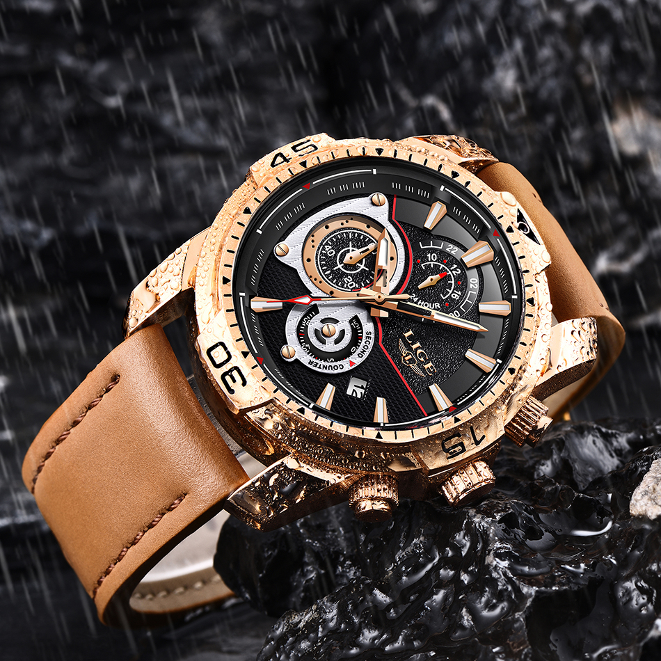 HTB19cvhXfjsK1Rjy1Xaq6zispXat LIGE Mens Watches Top Brand Luxury Casual Leather Quartz Clock Male Sport Waterproof Watch Gold Watch Men Relogio Masculino