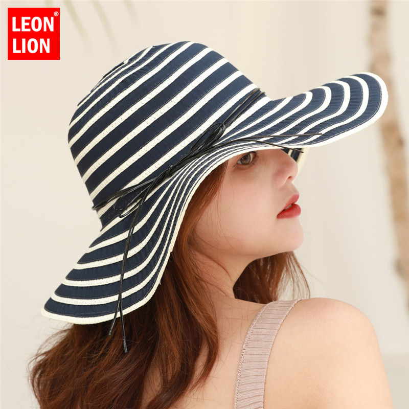 2019 Women Visors Hat Fishing Beach UV Protection Ladies Cap Handmade Casual Flat Brim Bowknot for Wide Sun