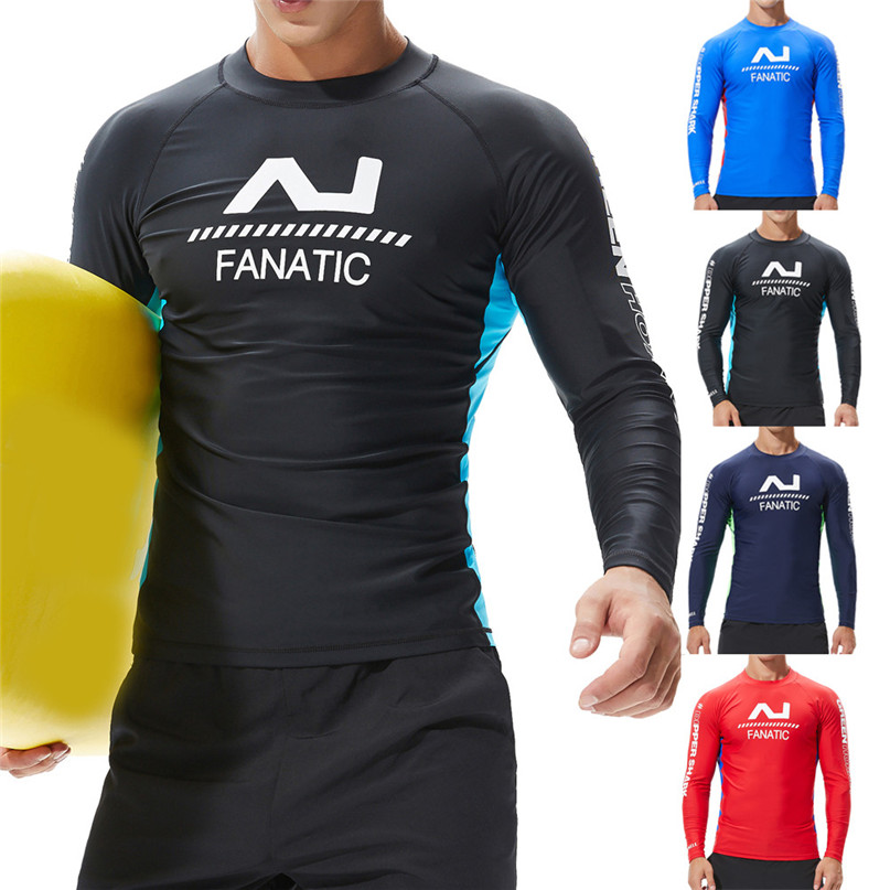 Swim Surfing Top Rash Guards Men Sport Bodybuilding Jacket Fashion Sea Surfing Suit Quick Dry Tights Top Blouse #2N27