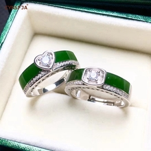 где купить Certified Natural Hetian Jade Jasper Inlaid With  925 Sterling Silver Handmade Fine Lucky Couple Rings High Quality Best Gifts по лучшей цене