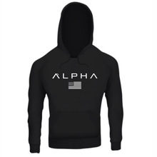 ALPHA Flag New Fashion Mens Hoodies Brand Men Solid Color Hooded Sling Sweatshirt Hoodie Hip Hop Loose Slim Male Top