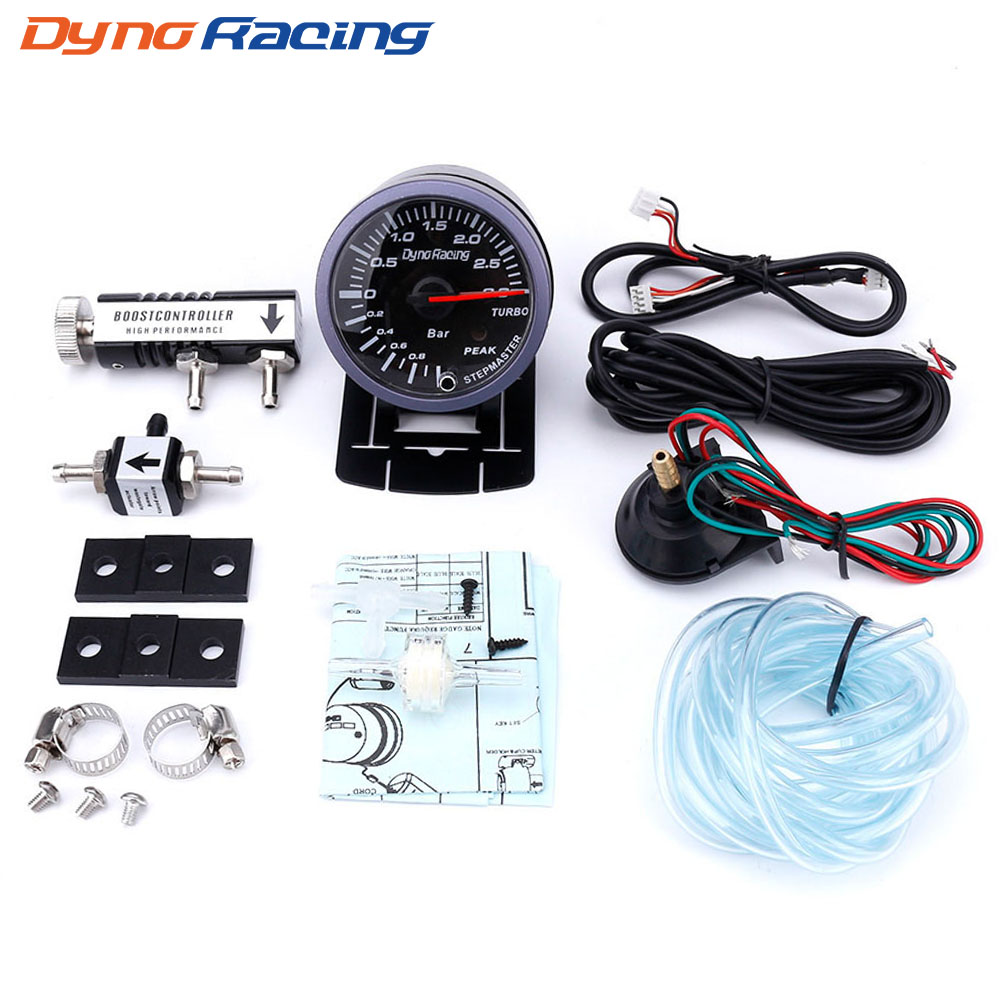 60 MM Car Turbo Boost Medidor 3Bar Dynoracing Frete grátis + Ajustável Controlador Turbo Boost Kit 1-30PSI IN-CABINE medidor de carro