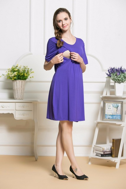 Мода спандекс смесовая хлопок колен кормящих платья кормящих одежды