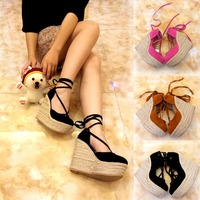 Women Sandals Casual Linen Wedge Platform Ankle Strap High Heel 12CM Ladies Shoes Girl Platform Pump Espadrilles Student Shoes