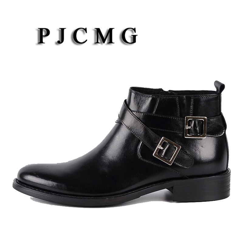 PJCMG New Pointed Toe Buckle Strap Ankle Boots Men Hombre Genuine Leather Men Motorcycle Boots For Men Work High Top Men Shoes - 2