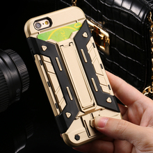 Armor case For iPhone 5 5S SE 6 6S Plus Card Holder Heavy Duty Kickstand Phone Shell Case For iPhone SE 5S 6 6S 7 Plus Cover(China)