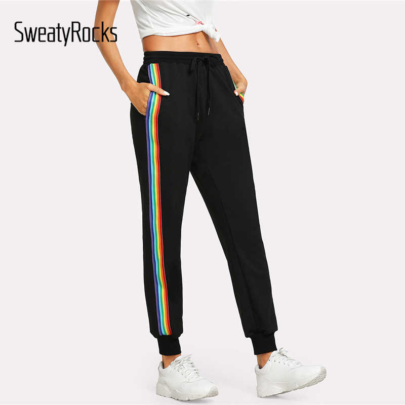 SweatyRocks Rainbow Striped Side Sweatpants Black Drawstring Waist Loose Sporting Pants Women Summer Mid Waist Trousers